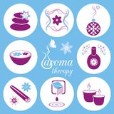 Aromatherapy icons. Set of violet and blue aromatherapy icons on light blue background Royalty Free Stock Images