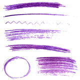 Set of violet color pencil strokes and frames. Stock Image