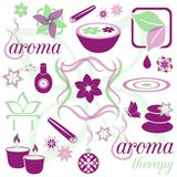 Aromatherapy icons. Set of violet and green aromatherapy icons Stock Photography
