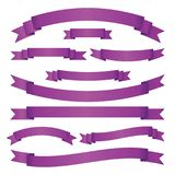 Set of violet ribbon banners on white background. Collection of blank frames for your design. Vector illustration. Stock Photo