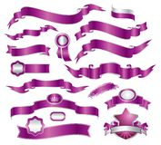 Set of violet ribbons Stock Photos