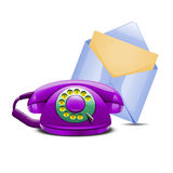 Set of violet telephone and blue mail Royalty Free Stock Photography