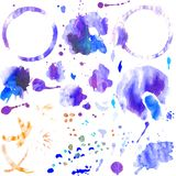 Set of watercolor splashes and stains of coffee cup stock illustration