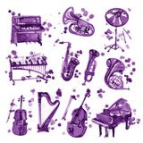 Set of violet watercolor musical instruments. Stock Image