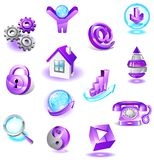 Set of violet web icons Royalty Free Stock Photography