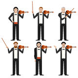 Set of violinistes flat icons Stock Images