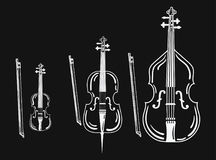 Set of violins. Collection of bow musical instruments. Stylized cello. Black and white vector illustration. Set of violins. Collection of bow musical Stock Images