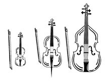 Set of violins. Collection of bow musical instruments. Stylized cello. Black and white vector illustration. Set of violins. Collection of bow musical Royalty Free Stock Photos