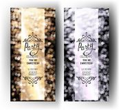 Set of Vip luxury party invitation cards with defocused background. Stock Photos