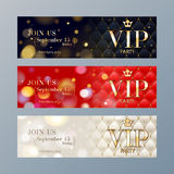 Set of VIP party banners templates. Stock Photography