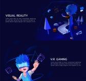 Set_of_VirtualReality_VRgaming_3d_style Fotografia Stock