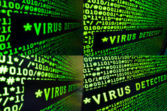 Set of Virus Detected Signs Stock Photo