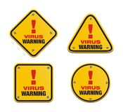 Set of virus warning signs Royalty Free Stock Images