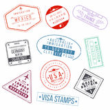 Set of visa passport stamps. International arrivals sign rubber stamps Royalty Free Stock Photography