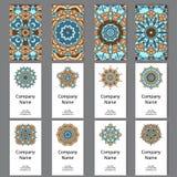Set Visitenkarten Weinlesemuster im Retrostil mit Mandala Übergeben Sie gezogenen Islam, Arabisch, Inder, Spitzemuster stock abbildung