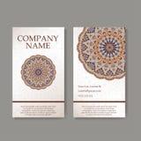 Set Visitenkarten Weinlesemuster im Retrostil mit Mandala Übergeben Sie gezogenen Islam, Arabisch, Inder, Spitzemuster lizenzfreie abbildung