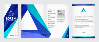 Set of Visual identity with letter logo elements polygonal style Stock Photos