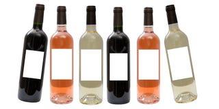 set vit wine för flaskredrose Royaltyfri Bild