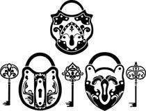set vitage för key padlock Royaltyfria Bilder