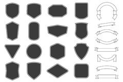 Set of vitage label, badges shape and ribbon baner collections. Vector. Black template for patch, insignias, overlay. Set of vitage label, badges shape and stock illustration
