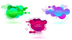 Set of vivid fluid color futuristic geometric shapes. Liquid gradient elements stock illustration