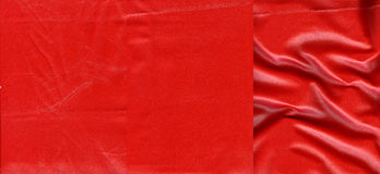 Set of  vivid red leather textures Stock Images
