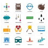 Set of vocabulary, hospitality, municipal, shotgun, set top box, adaptability, 360 degree, live support, travel agent icons. Set Of 16 simple  icons such as Stock Images