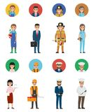 Set of Eight Vocations. Full-length and Round Icon. Set of vocations vector gardener with plant, young manager and lifesaver, doctor woman, waiter with tray Stock Photos