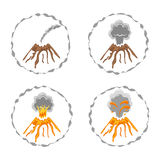 Set of volcano logos isolated on white. Different stages of volcano activity. Vector illustration Royalty Free Stock Photo