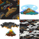 A set of volcanoes of varying degrees of eruption, a sleeping or awakening dangerous vulcan, salute from magma ashes and Royalty Free Stock Photos