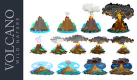 A set of volcanoes of varying degrees of eruption, a sleeping or awakening dangerous vulcan, salute from magma ashes and Royalty Free Stock Photo