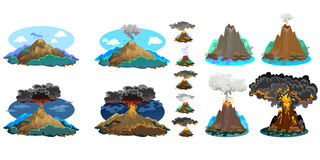 A set of volcanoes of varying degrees of eruption, a sleeping or awakening dangerous vulcan, salute from magma ashes and Royalty Free Stock Photography