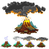A set of volcanoes of varying degrees of eruption, a sleeping or awakening dangerous vulcan, salute from magma ashes and Stock Image