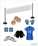 Set of Volleyball Equipment on White Background Stock Photos
