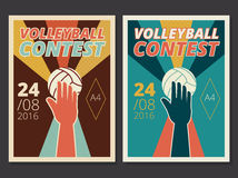 Set of volleyball game vector poster and flyer design in A4 size. In retro style with hand and ball, contest or tournament background vector illustration