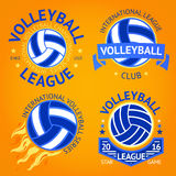 Set of volleyball labels, logo templates etc. with ball, fire, stars and ribbon. Vector Stock Photo
