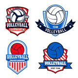 Set of  volleyball labels and logos for volleyball teams Royalty Free Stock Images
