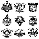 Set of volleyball sport emblems. Design element for poster, logo, label, emblem, sign, t shirt. Vector illustration Royalty Free Stock Photos