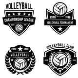 Set of volleyball sport emblems. Design element for poster, logo, label, emblem, sign, t shirt. Vector illustration Stock Photos