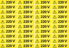 Set of 220 volt stickers. Set of 220 volt main voltage sticker for printing on A4 Stock Photography