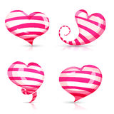 Set of volume, glossy, shining 3d hearts pink Stock Photo