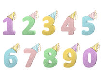 Set of volume numbers with party hats Stock Photography