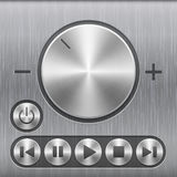 Set of volume sound control button, round metal buttons with basic audio symbols and with brushed texture. Isolated on a dark recess in background with metal Royalty Free Stock Photos