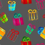 Set of volumetric bright colorful gift boxes with bows for birthday, Christmas or New Year. Seamless pattern of volumetric bright colorful gift boxes with bows Royalty Free Stock Photos