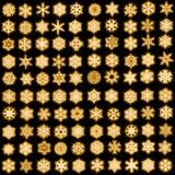 Set von 100 eindeutigen Schneeflocken in gefunkelter Art Lizenzfreie Stockfotografie