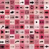 Set von 100 Pfeilen auf rosafarbenem Hintergrund Lizenzfreie Stockfotografie