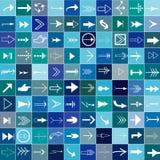 Set von 100 Pfeilen in den blauen Quadraten Stockfotografie