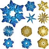 Set von 11 Schneeflocken 3D vektor abbildung