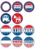 Set von 11 Wahlkampagnenabzeichen Stockbild
