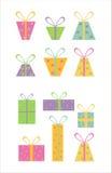 Set von 12 Geschenkikonen Lizenzfreie Stockfotos